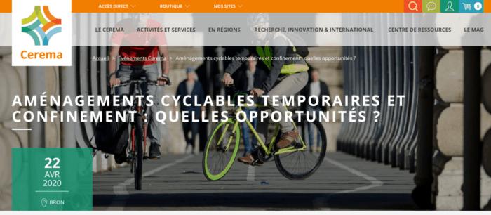 Page du CEREMA Webinaire Aménagements cyclables temporaires